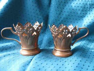 2 Jugendstil Teeglashalter Ohne Teeglas Floral Kupfer Entwurf Deffner ??? Bild