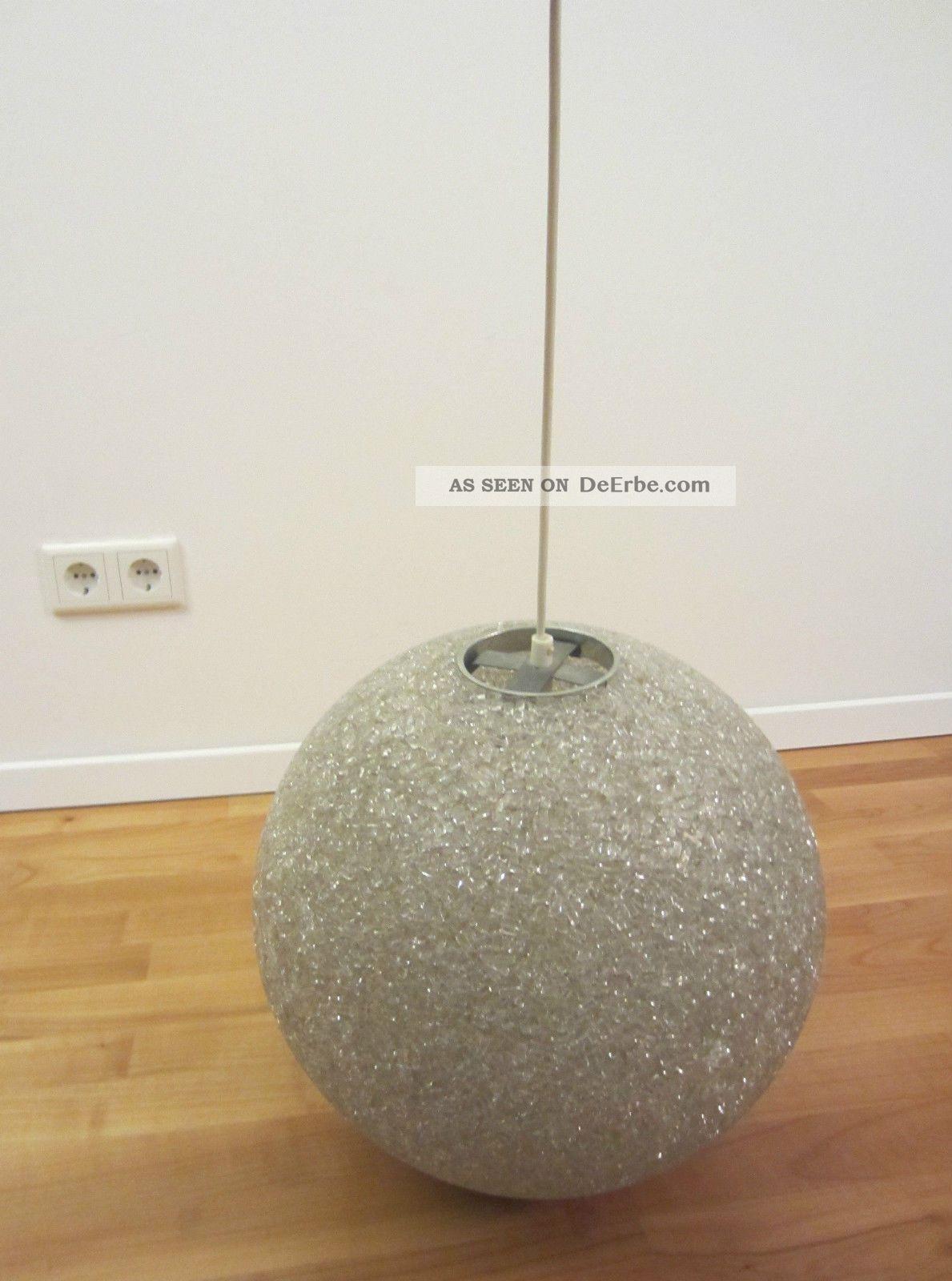 Alte Granulat Kugel  Lampe ∅ 38 Cm Pendel Leuchte 60er 70er Jahre