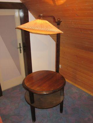Stehlampe Mit Beistelltisch,  Ablagetisch Mit Lampe 50er Jahre Bild
