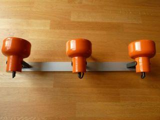 70er Jahre 3 - Spot Deckenstrahler Richard Essig Orange Metall Gebürstet - Retro Bild