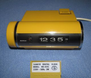 Rollzahlenwecker Sankyo Digital Clock Model No.  401c In Gelb,  70er Jahre Bild