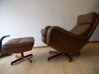 Lounge Chair,  Ottoman Leder Denmark Vintage Teak 60s Danish Eames Kjaerholm Ära Bild