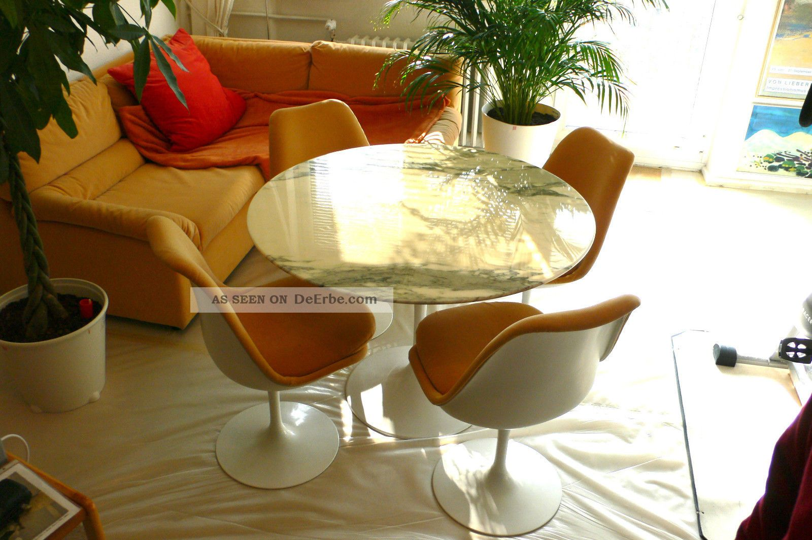eero saarinen tulip table 4 chairs tisch 4 st hle knoll. Black Bedroom Furniture Sets. Home Design Ideas