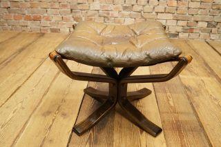 60s Mid - Century Sigurd Resell Leder Ottoman Hocker Falcon Chair Vintage Bild