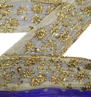 Vintage Indien Hand Perlen 1yd Sari Border Spitze Beige Nähen Trim Ribbon Deco Bild