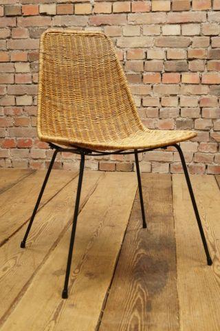 60s Basket Chair Designer Stuhl Korbstuhl 60er Franco Legner Ära Vintage Bild