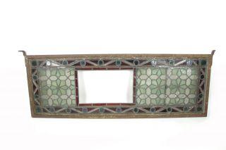 Antikes Jugendstil Ornamentfenster Buntglasfenster Bleiglas Gusseisen 119x42 Cm Bild