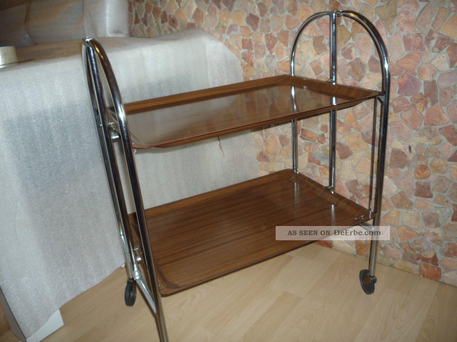 servierwagen braun beistelltisch teewagen klappbar 70er. Black Bedroom Furniture Sets. Home Design Ideas
