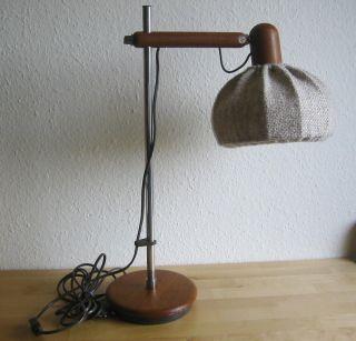 Tischlampe Danish Design Teak Holz Lampenschirm Aus Stoff Lampe 70er Jahre Bild