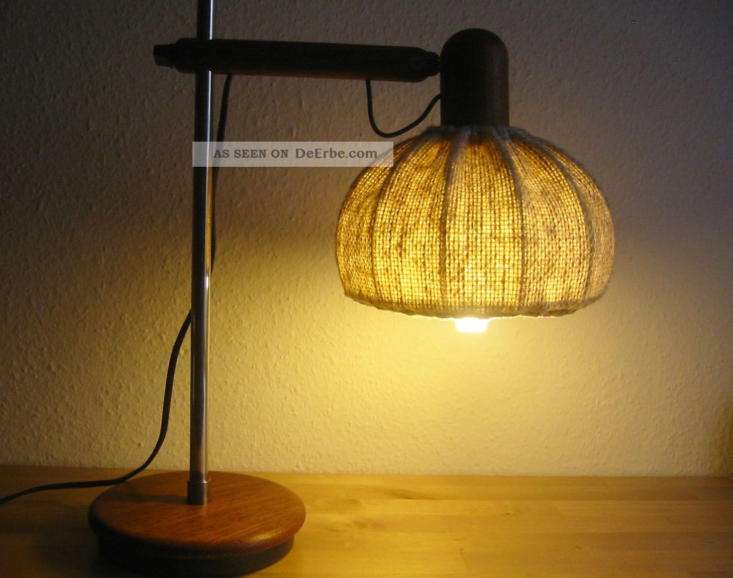 tischlampe danish design teak holz lampenschirm aus stoff. Black Bedroom Furniture Sets. Home Design Ideas