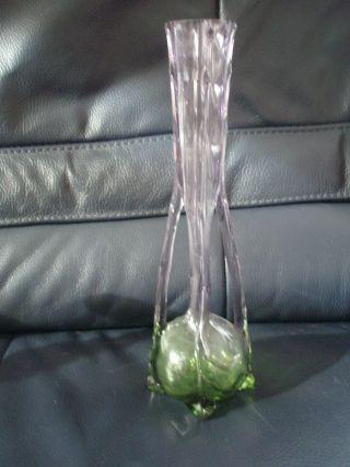 Antike Bildschöne Und Dekorative Jugendstil Glas Vase Grün - Lila 2 Henkel 30 Cm Bild
