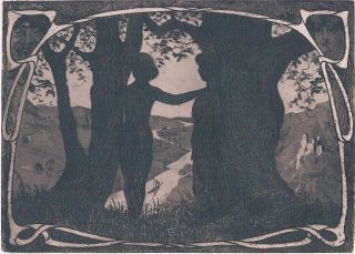 Meisterwerk Des Jugendstil: GÖtz DÖhler - Sehnsucht.  - Radierung 1906 Bild