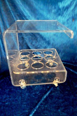 Kultiger Vintage Acrylglas Plexi Glas Acryl Beistell Tisch 70er Rollwagen Phono Bild