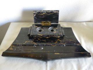 Altes Antikes Art Déco Schreibtischset Mit Tintenfass Marmor Bild