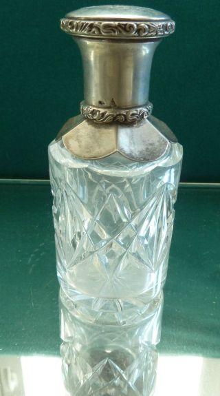 Wunderschöne Flacon Flasche Kleine Karaffe 800 Er Silber Kristall 12 Cm H Bild
