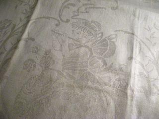 Unbenutztes Leinen Handtuch Mit Engel Mit Flöte Bild