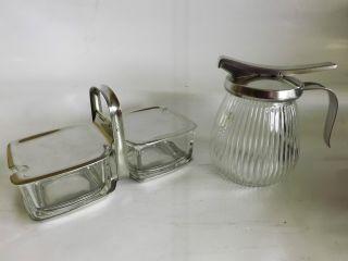 Alte Marmeladendose Und Milchkännchen Glas,  Cromargan Von Wmf Gemarkt Bild