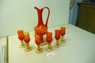 Nr.  1422.  Alte Karaffe Mit 6 Gläser Old Glass Decanter With 10 Glasses Bild