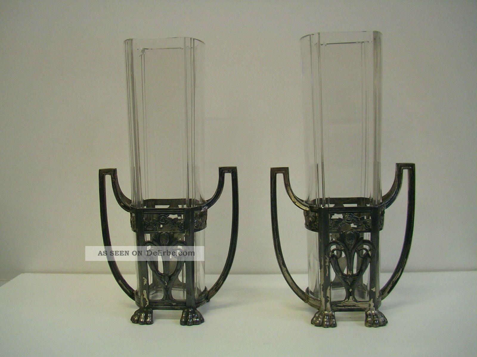 Paar Wmf Straußenmarke Jugendstil Vasen Sammlerglas Bild