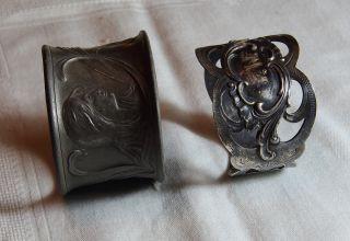 Zwei Servietten Ringe Zinn Messing Versilbert Bild