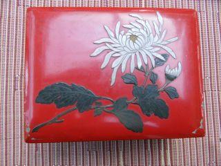 Antike Rote Holzschachtel Mit Chinalack,  Metallaplikation Geschmückt M.  Punze Bild