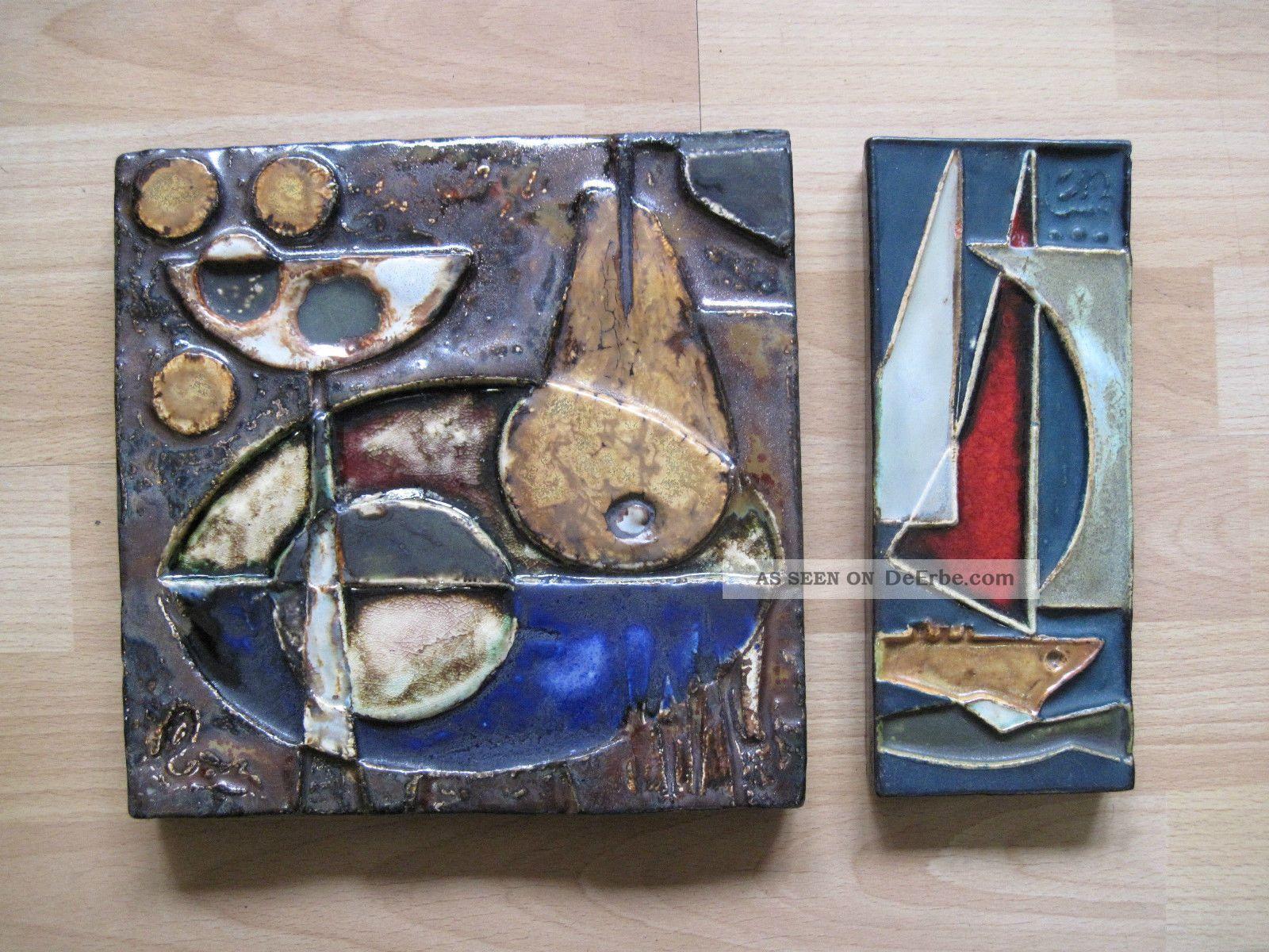 Helmut Schäffenacker - 2 Kleinformatige Wandplatten Aus Keramik - Unbeschädigt Nach Stil & Epoche Bild