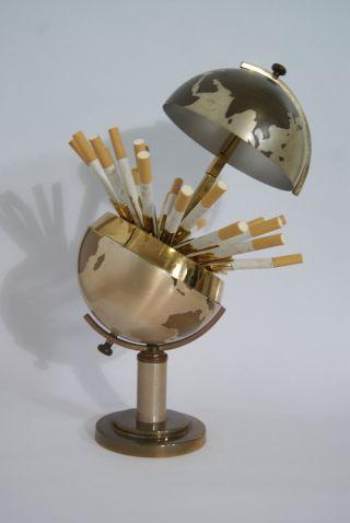 Vintage Messing Zigarettenspender Globus°globe Cigarette Dispenser°mid Century Bild