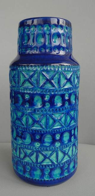 Vintage Scheurich West Germany Bay Fat Lava Keramik Vase Pottery Blau 50 ' S 60 ' S Bild