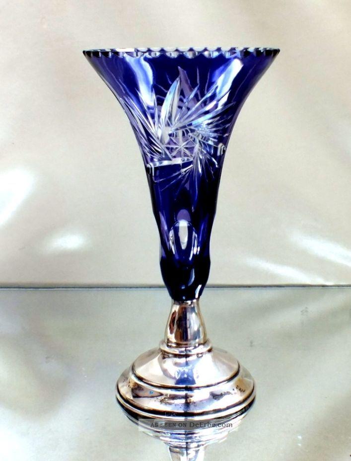 Art Deco Überfangglasvase Mit Silberfarbenen Fuß Und Punze Sammlerglas Bild