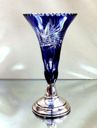Art Deco Überfangglasvase Mit Silberfarbenen Fuß Und Punze Bild