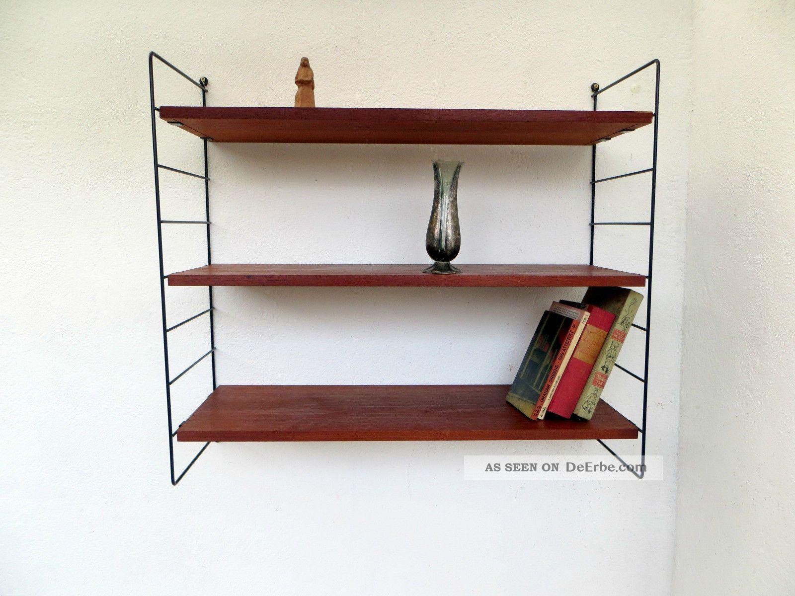 60er jahe string stil regal system 60er jahre teak. Black Bedroom Furniture Sets. Home Design Ideas