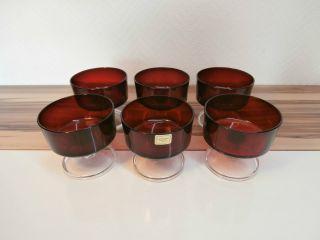 6 Rote Luminarc Sektschalen Gläser Dessertschale 60er Frankreich Rockabilly Bild