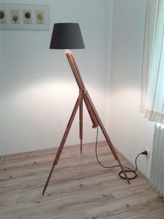Design Lampe Stehlampe Bauhaus Tripod Lamp Kugel Architekt Shabby Chic Holz Bild
