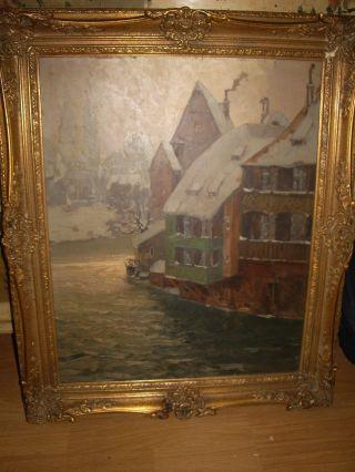 Erich Mercker 1891 - 1973 Handgemaltes Ölbild Auf Platte Bild