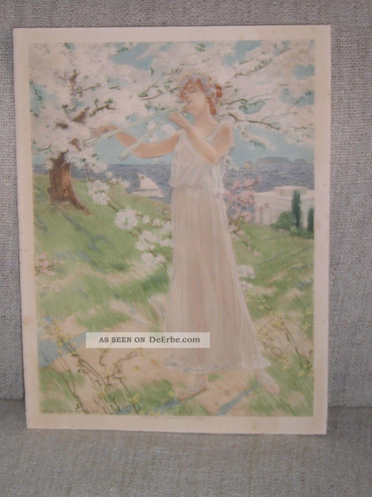 SchÖnes Lithografie Aus 1900 Datiert Manzi Joyant &co 1890-1919, Jugendstil Bild