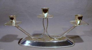 50/60er J.  Silber Leuchter 3 - Flammig Art Deco Design Kerzenständer - Halter Versi Bild