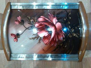Antikes Tablett // Art - Deco // Mit Blumen - Motiv Aus Frankreich // Bild