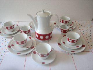 Kaffeeservice Kultobjekt Aus Den 70er Seltmann Weiden Dots Rot Vintage Bild