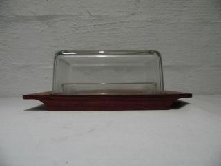 Teak Glas Butterdose Butterglocke Danish Design Entwurf 50er 50`s 60er 60`s 2 Bild