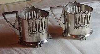 2 Teeglashalter Tee Glas Halter Wmf Jugendstil Art Deco Bild