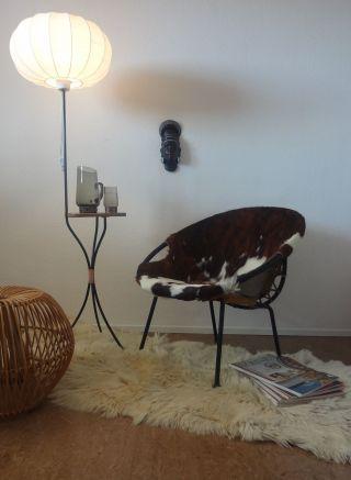 50er / 60er Mid Century Stehlampe Tripod Cocoon String / Castiglioni Panton Ära Bild