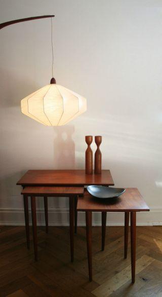 50er / 60er Mid Century Lampe Wandlampe Cocoon Teak / Castiglioni Wegner Ära Bild