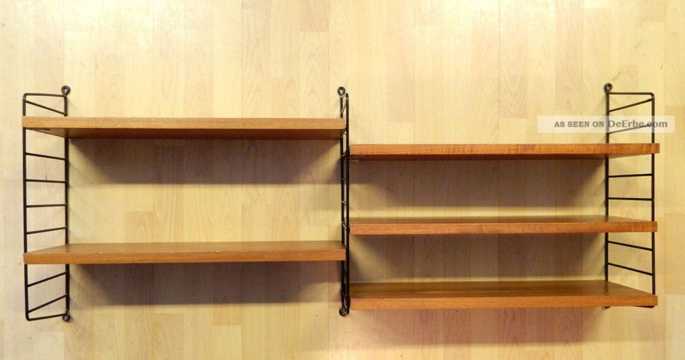 string regal teakholz designklassiker string ladder shelf teak 1960 39 s. Black Bedroom Furniture Sets. Home Design Ideas