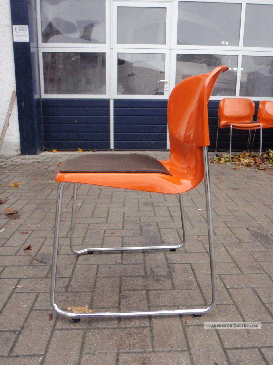 Stuhl gerd lange design 70er orange st hle stapelbar swing for Stuhl design epochen