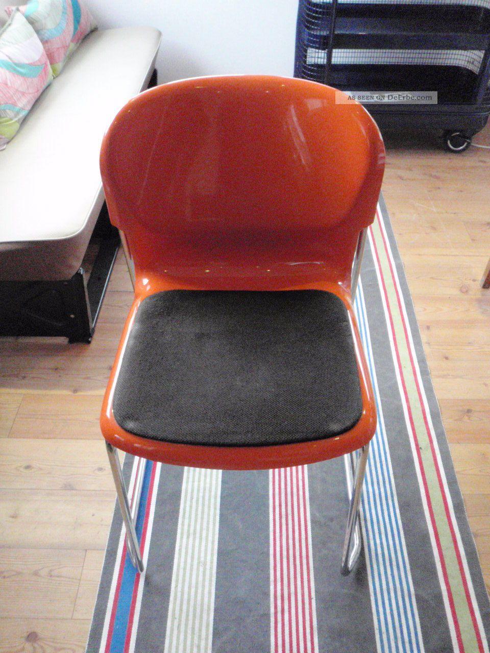 Stuhl gerd lange design 70er orange st hle stapelbar swing for Design stuhl orange