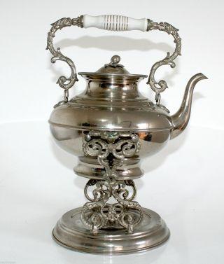 Teekanne Teekessel Mit Rechaud Ca.  1900 Metall Vernickelt Ae Bild