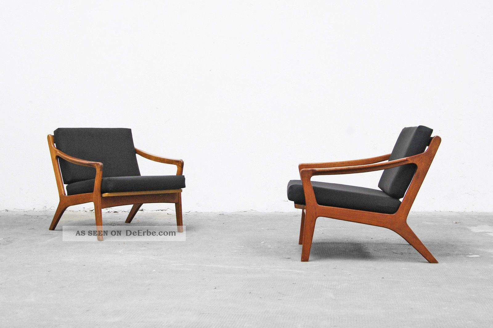 2x sessel easy chair 50er teak 60er danish modern 50s. Black Bedroom Furniture Sets. Home Design Ideas