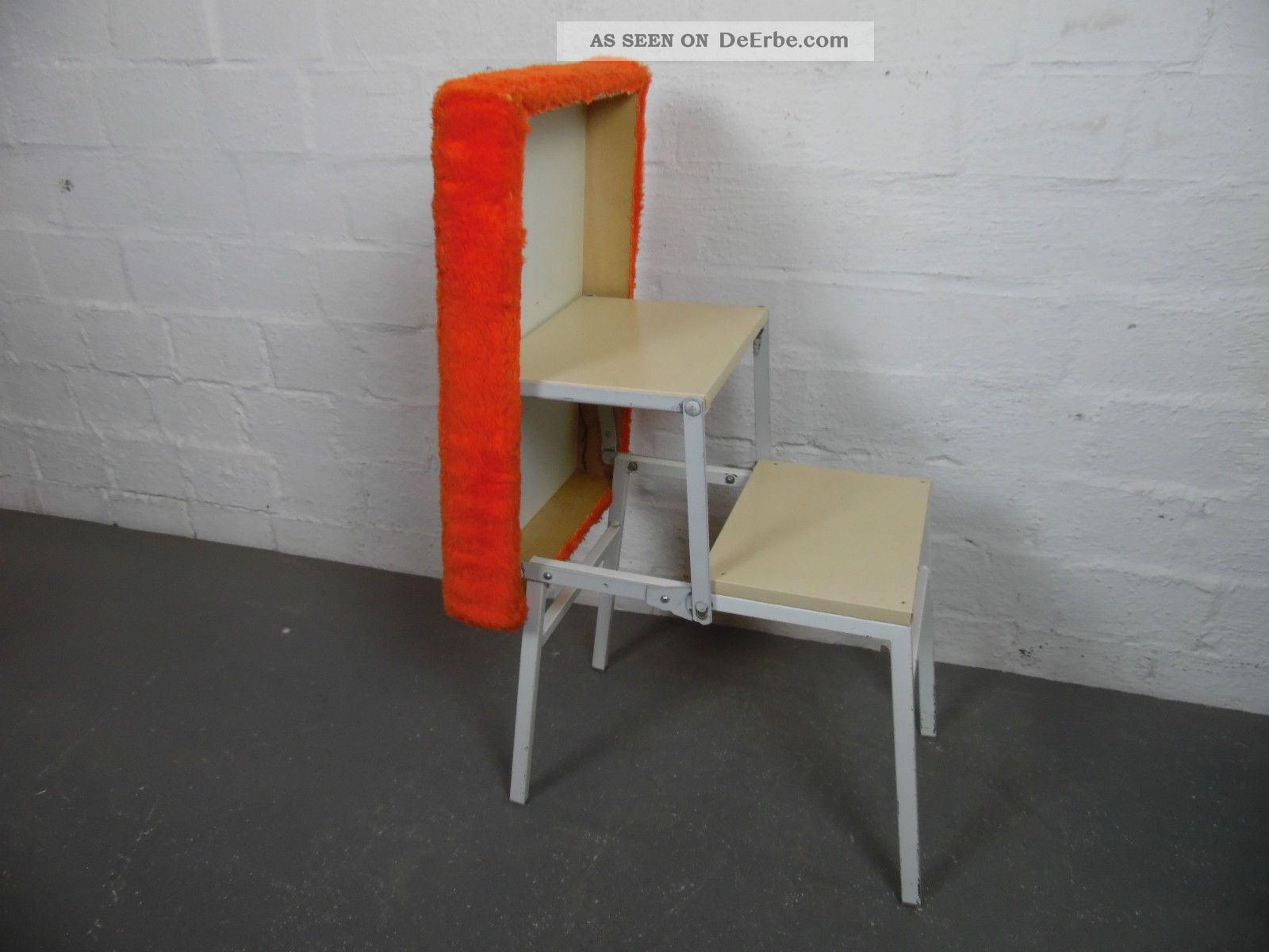 meyer hocker tritt trittleiter 60er 60 s 70er 70 s orange design entwurf. Black Bedroom Furniture Sets. Home Design Ideas