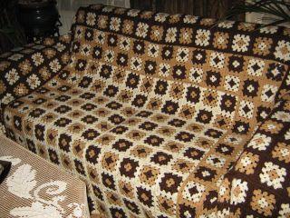 Vintage HÄkeldecke 70er Tagesdecke Bett Überwurf Sofadecke Riesig 240 X 230 Cm Bild