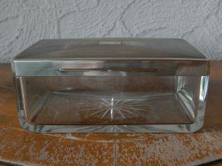 Art Deco Glasdose Mit 800er Silberdeckel,  Deutsch Um 1930. Bild